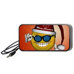 Funny Christmas Smiley With Sunglasses Portable Speaker (Black)