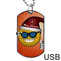 Funny Christmas Smiley With Sunglasses Dog Tag USB Flash (One Side)