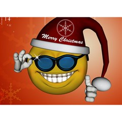 Funny Christmas Smiley With Sunglasses Birthday Cake 3D Greeting Card (7x5)