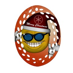 Funny Christmas Smiley With Sunglasses Oval Filigree Ornament (2 Side)