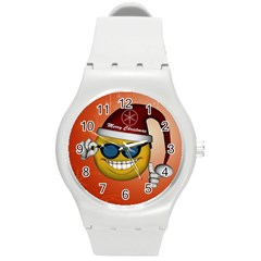 Funny Christmas Smiley With Sunglasses Round Plastic Sport Watch (M)