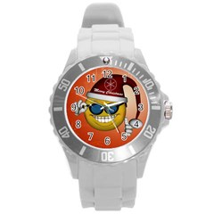 Funny Christmas Smiley With Sunglasses Round Plastic Sport Watch (L)