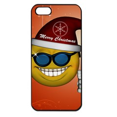 Funny Christmas Smiley With Sunglasses Apple iPhone 5 Seamless Case (Black)