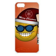 Funny Christmas Smiley With Sunglasses Apple iPhone 5 Seamless Case (White)