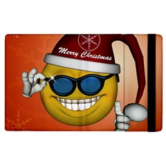 Funny Christmas Smiley With Sunglasses Apple iPad 2 Flip Case