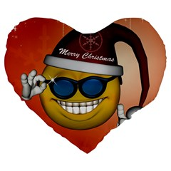 Funny Christmas Smiley With Sunglasses Large 19  Premium Heart Shape Cushions