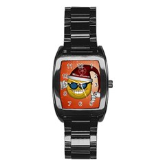 Funny Christmas Smiley With Sunglasses Stainless Steel Barrel Watch