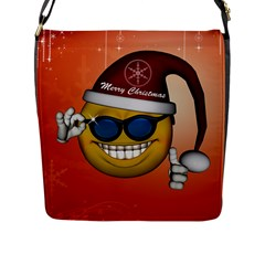 Funny Christmas Smiley With Sunglasses Flap Messenger Bag (L)