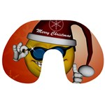 Funny Christmas Smiley With Sunglasses Travel Neck Pillows Back