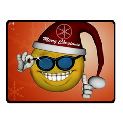 Funny Christmas Smiley With Sunglasses Double Sided Fleece Blanket (Small)