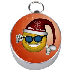 Funny Christmas Smiley With Sunglasses Silver Compasses