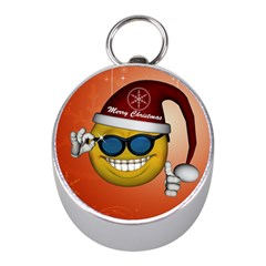 Funny Christmas Smiley With Sunglasses Mini Silver Compasses
