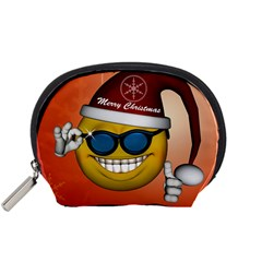 Funny Christmas Smiley With Sunglasses Accessory Pouches (Small)