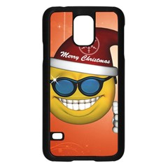 Funny Christmas Smiley With Sunglasses Samsung Galaxy S5 Case (Black)