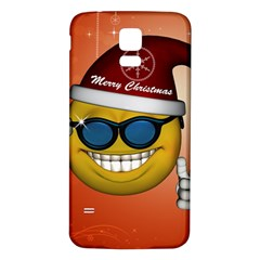 Funny Christmas Smiley With Sunglasses Samsung Galaxy S5 Back Case (White)