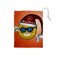 Funny Christmas Smiley With Sunglasses Drawstring Pouches (Medium)