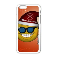 Funny Christmas Smiley With Sunglasses Apple iPhone 6/6S White Enamel Case