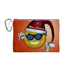Funny Christmas Smiley With Sunglasses Canvas Cosmetic Bag (M)
