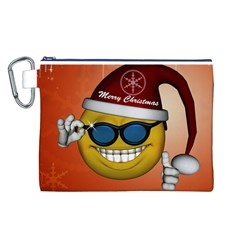 Funny Christmas Smiley With Sunglasses Canvas Cosmetic Bag (L)