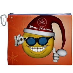 Funny Christmas Smiley With Sunglasses Canvas Cosmetic Bag (XXXL)