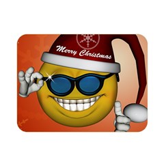 Funny Christmas Smiley With Sunglasses Double Sided Flano Blanket (Mini)