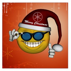 Funny Christmas Smiley With Sunglasses Large Satin Scarf (Square)