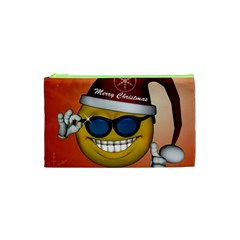 Funny Christmas Smiley With Sunglasses Cosmetic Bag (XS)
