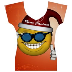 Funny Christmas Smiley With Sunglasses Women s V-Neck Cap Sleeve Top