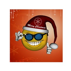 Funny Christmas Smiley With Sunglasses Small Satin Scarf (Square)