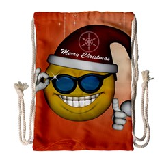 Funny Christmas Smiley With Sunglasses Drawstring Bag (Large)