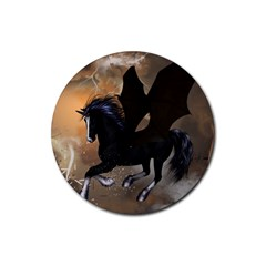 Awesome Dark Unicorn With Clouds Rubber Round Coaster (4 pack)
