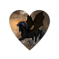 Awesome Dark Unicorn With Clouds Heart Magnet