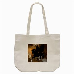 Awesome Dark Unicorn With Clouds Tote Bag (Cream)