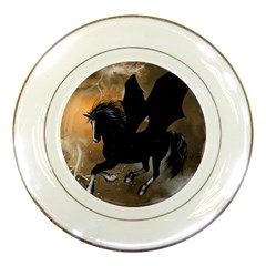 Awesome Dark Unicorn With Clouds Porcelain Plates