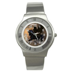 Awesome Dark Unicorn With Clouds Stainless Steel Watches