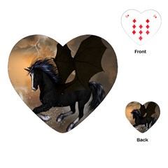 Awesome Dark Unicorn With Clouds Playing Cards (Heart)