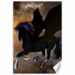 Awesome Dark Unicorn With Clouds Canvas 24  X 36
