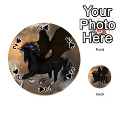 Awesome Dark Unicorn With Clouds Playing Cards 54 (round)