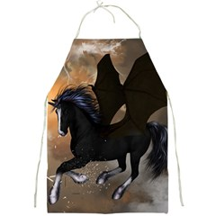Awesome Dark Unicorn With Clouds Full Print Aprons