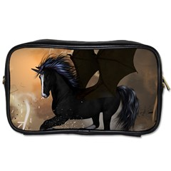 Awesome Dark Unicorn With Clouds Toiletries Bags