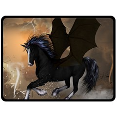 Awesome Dark Unicorn With Clouds Fleece Blanket (Large)