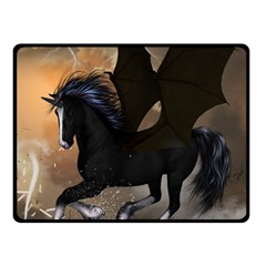 Awesome Dark Unicorn With Clouds Fleece Blanket (small)