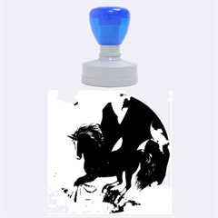 Awesome Dark Unicorn With Clouds Rubber Round Stamps (Large)