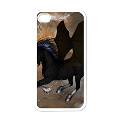 Awesome Dark Unicorn With Clouds Apple iPhone 4 Case (White)
