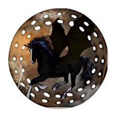 Awesome Dark Unicorn With Clouds Ornament (Round Filigree)