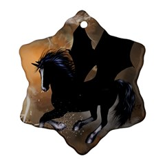 Awesome Dark Unicorn With Clouds Snowflake Ornament (2 Side)