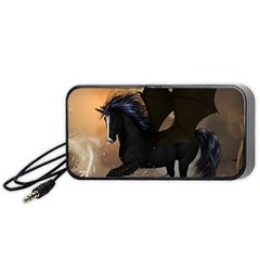 Awesome Dark Unicorn With Clouds Portable Speaker (Black)