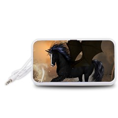 Awesome Dark Unicorn With Clouds Portable Speaker (White)