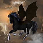 Awesome Dark Unicorn With Clouds Congrats Graduate 3D Greeting Card (8x4)  Inside