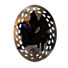 Awesome Dark Unicorn With Clouds Oval Filigree Ornament (2 Side)